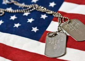 Military ID Tags with American Flag